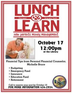 New Parents Money Management, Lunch and Learn @ Bldg 715, Rm 115, (Library)
