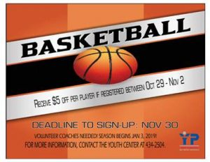 Youth Basketball Sign Ups @ Youth Center