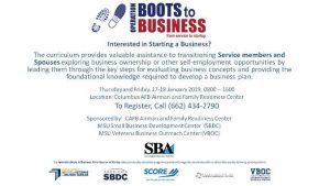 Operation Boots to Business @ A&FRC