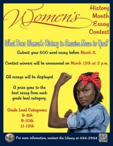 Women in History Month Essay Contest @ Library
