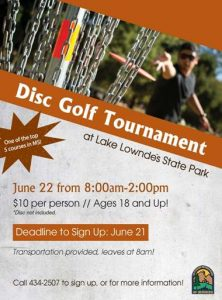 Disc Golf Tournament @ Lake Lowndes State Park