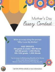 Copy of Mother's Day Essay Contest, May 2019