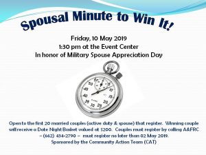 Spousal Minute to Win It @ The Event Center (Columbus Club)