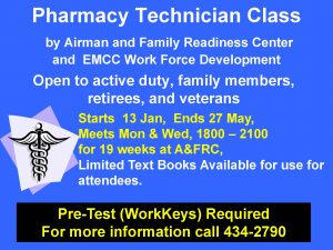 **Event Suspended** Pharmacy Tech Workshop @ A&FRC