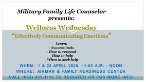 **Event Suspended**Wellness Wednesday-Communicating Emotions