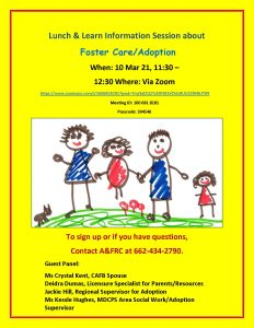 Lunch/Learn Information Session on Fostering/Adoption Zoom