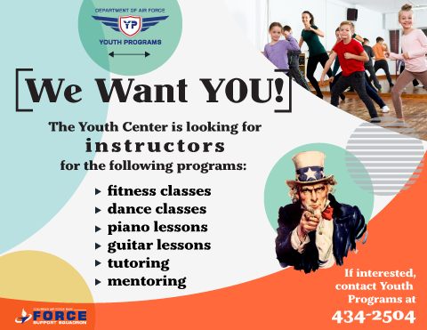 Youth Center Instructors Wanted